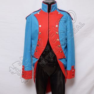 Napoleonic French Jacket Sky Blue Color with Red front