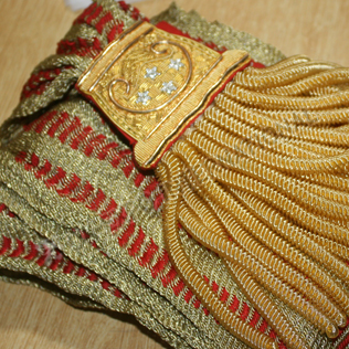 Napoleonic Prussian officer Netted  sash Gold and maroon 1750 1770