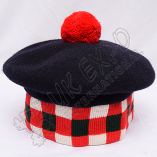 Navy Blue Hummel bonnet with Dicing Dark Green/Red/White Red Pom Pom