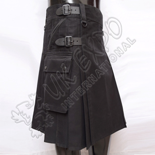 Modern Black Utility Kilt With 4 Pockets 3 Buckle closing