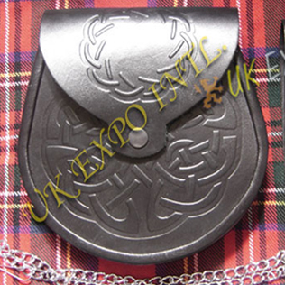 New Celtic Double Embossed Leather Sporran