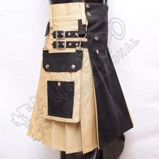 New khaki and Black Two-Tone Hybrid Kilt
