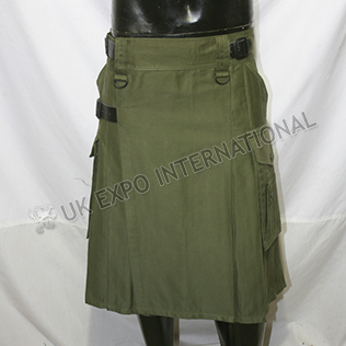 Modern Olive Utility Kilt With 4 Pockets 3 Buckle closing