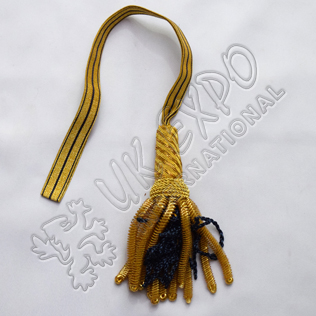 Officer sword knot Dark Blue bullion and gold bullion fringes