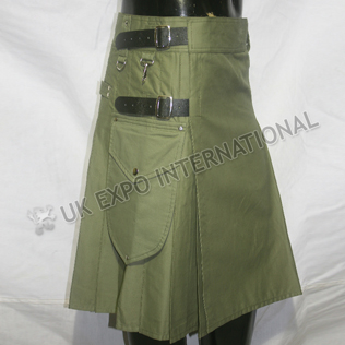 Olive Utility kilts With 2 Round Pockets long leather straps