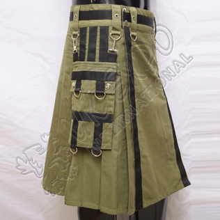 Olive Heavy Canvas Utility Sports Casual Pocket Kilt