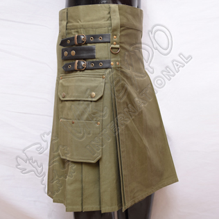 Olive Heavy Duty Utility Kilts with 4 Straps closing