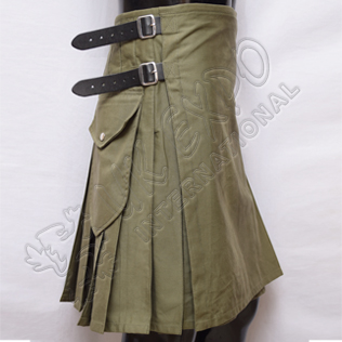 Modern Olive Scottish Kilts with 3 Long Straps 3 Size adjustable