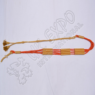 Orange and Golden color cotton Russian braid barrel sash