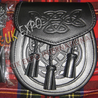 Plain Smooth Leather Orignal Cow hide leather Celtic Embossed on Flap and front with 3 tessels