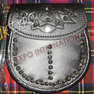 Orignal Cow hide leather Scottish flower Embossed on Flap and studs on front