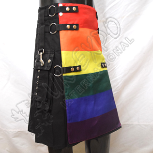 Orlando Rainbow Fashion Utility kilt, Black Cotton and Chains
