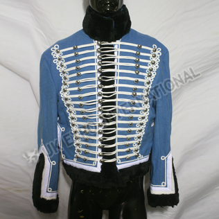 Pelisse lieutenant of 7th hussar Sky blue White wool Braid with Black Furr