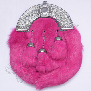 Pink Color Rabbit Fur Sporran