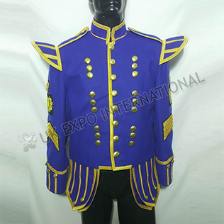 Pipe Band Doublet Royal blue  with Gold Braid and cord with Pipe Band Badges on Sleeve