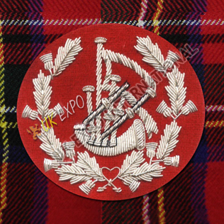 Pipe Major Insignia, Red & Silver