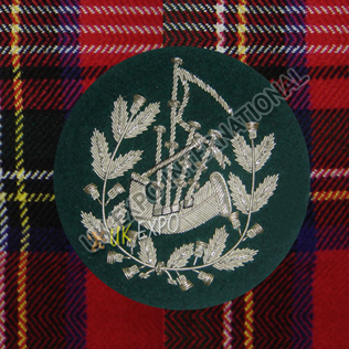 Pipe Major Insignia Green & Silver