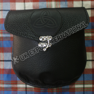 Plain leather Celtic embossed Black Grain Leather with Brass Lock Sporran