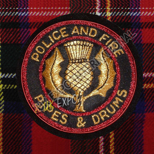Police and Fire Pipe and Drum Machine Badge