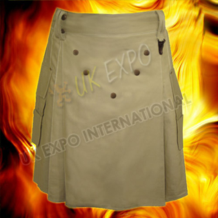 Power Khaki Utility Kilt With Brown Fabric and Metal Parts