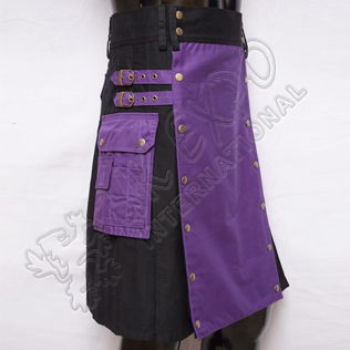 Purple and Black Hybrid Two-Tone Utility Kilt