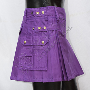 Purple kilt New Style ladies Utility Kilt 3 pockets