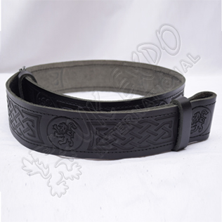 Rampart lion Belt with scottish celtic Embossed real leather belt