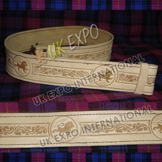 Rampart lion and flower knot work Embossed on Skin Color orignal Leather Kilt Belt