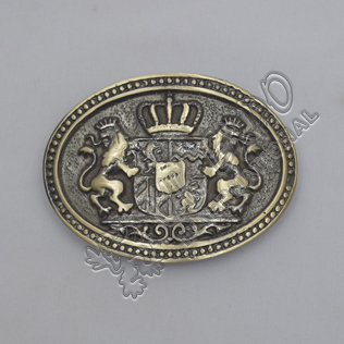 Rampart Lion with Crown Brass Antique Kilt Belt Buckle