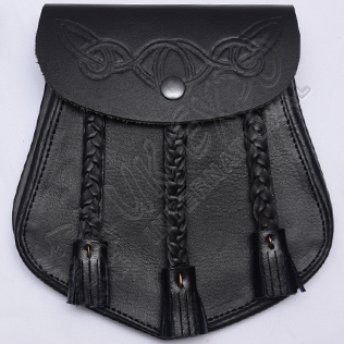 Real Cow Hide Leather Sporran with Celtic Design Embossed on front Flap