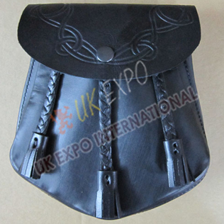 Real Leather Sporran Bag with Hand made Knot Tessels