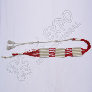 Red and Silver color cotton Russian braid barrel sash