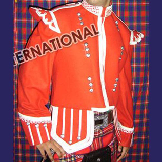 Red Blazer Silver Braided Doublet Roung Buttons
