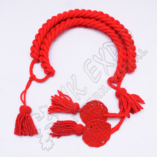 Red color Grenadier Cord in Available in Wool Cotton and Silk