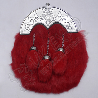 Red Color Rabbit Fur Sporran