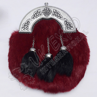 Red Color Rabbit Fur Sporrans with Celtic Cantle Black Color Filling