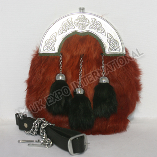 Red Color Rabbit furr sporrans with Black tessels Chrome Celtic Cantle