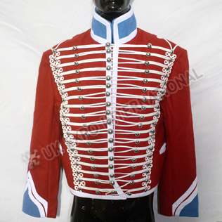 Red Hussar Jacket with Blue Collar Cuff