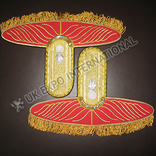 Red with Gold Bullion Braid White color Grenade badge Shoulder / Epaulets