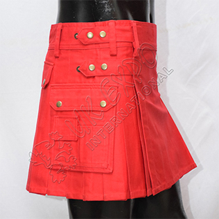 Red Women Red Utility Kilt short length sexy kilt
