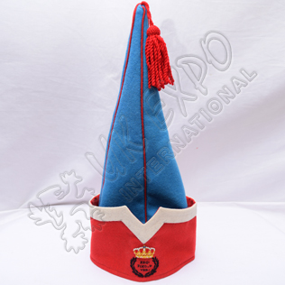 REG . FIXO . DVER . Royal Spanish sleeve cap Sky Blue with Red