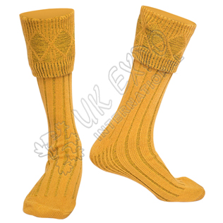 Rhombus Cuff Golden Color Kilt Woolen Socks