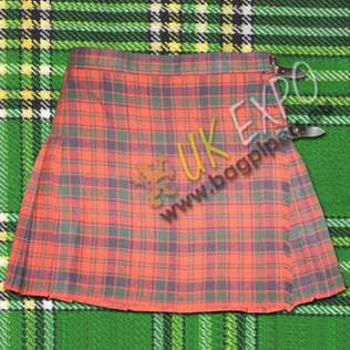 Roberston Red Ladies 1 Belt Mini Kilted Skirt 2 Buckles Closing