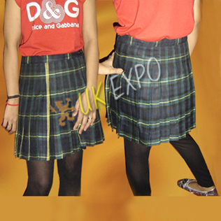 Round Pleated Girls School Skirt