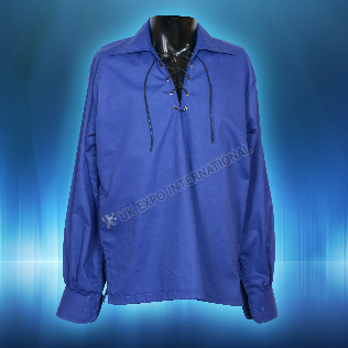 Royal Blue Scotland color Mens Scottish Highland Jacobite Shirts Jacobean Ghillie
