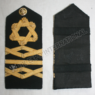 ROYAL NAVY RESERVE LCDR SHOULDER BOARDS  Gold Wire Braid