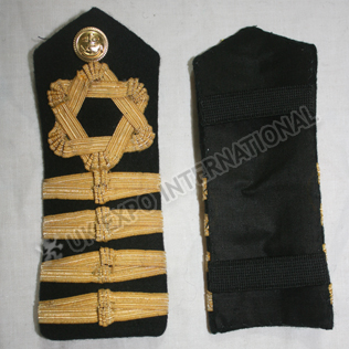 ROYAL NAVY SHOULDER BOARDS 4 strips Gold Wire Braid