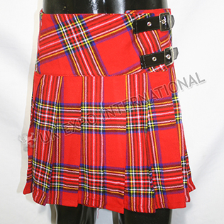 Royal stewart Ladies Tartan Billie Skirts  belt 2 Buckles and Velcro Closing
