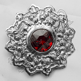 Ruby Stone Thistle Trim Brooch