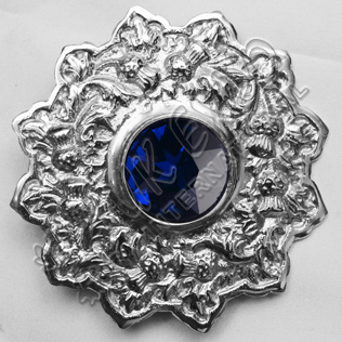 Sapphire Stone Thistle Trim Brooches